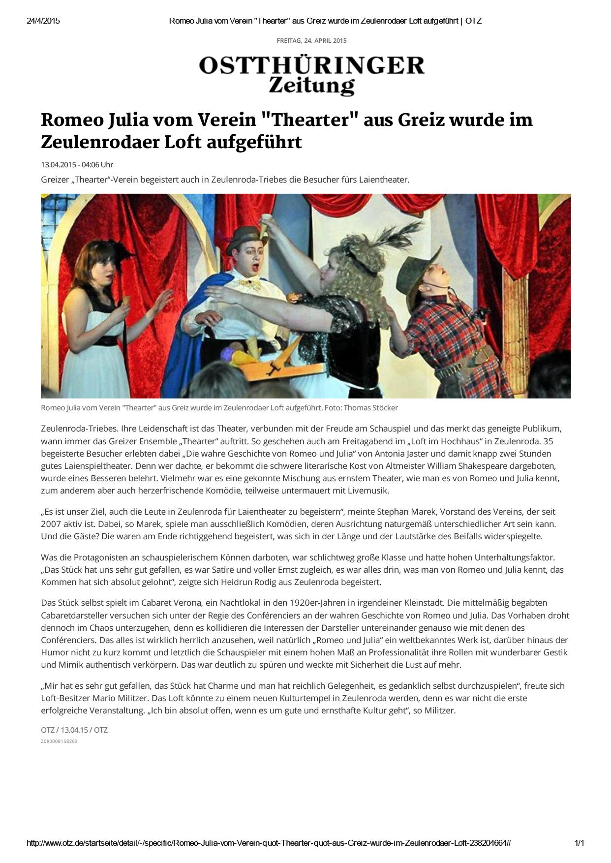 Romeo Julia vom Verein _Thearter_ aus Greiz wurde im Zeulenrodaer Loft aufgeführt _ OTZ